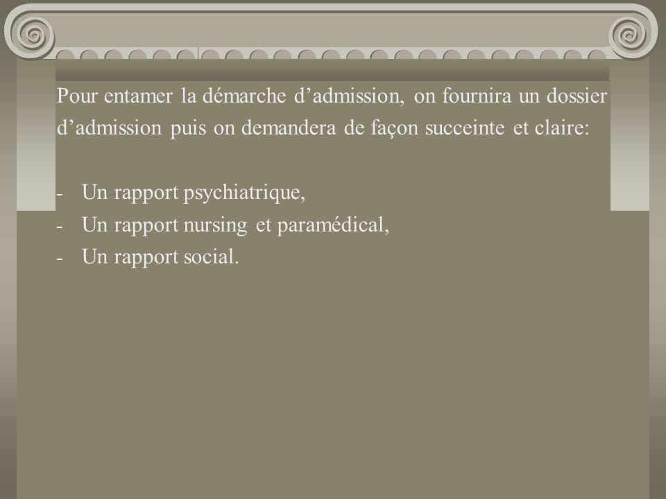 Le rapport psychiatrique doit faire état : - du diagnostic DSM IV - Axe I – II – III - GAF et doit mentionner que la pathologie psychiatrique est stabilisée sur tous les axes Critères d'exclusion Age: 60 ans (65 ans) Pathologies somatiques invalidantes Pathologies incompatibles avec une vie communautaire Axe II Retard mental sévère Troubles de la personnalité invalidants