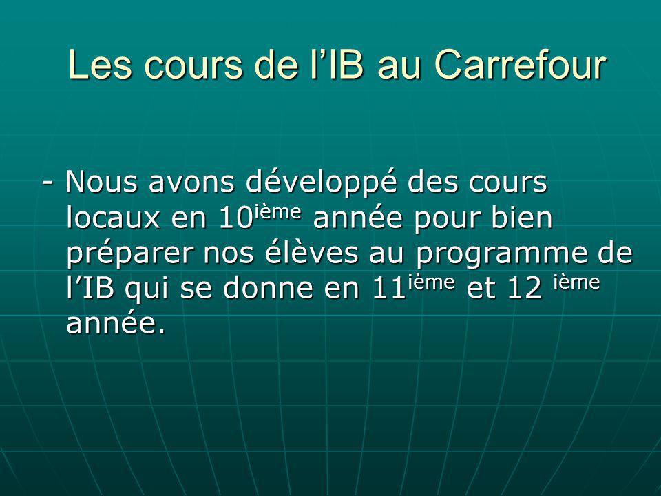 Les cours de l'IB au Carrefour - Nous avons développé des cours locaux en 10 ième année pour bien préparer nos élèves au programme de l'IB qui se donne en 11 ième et 12 ième année.