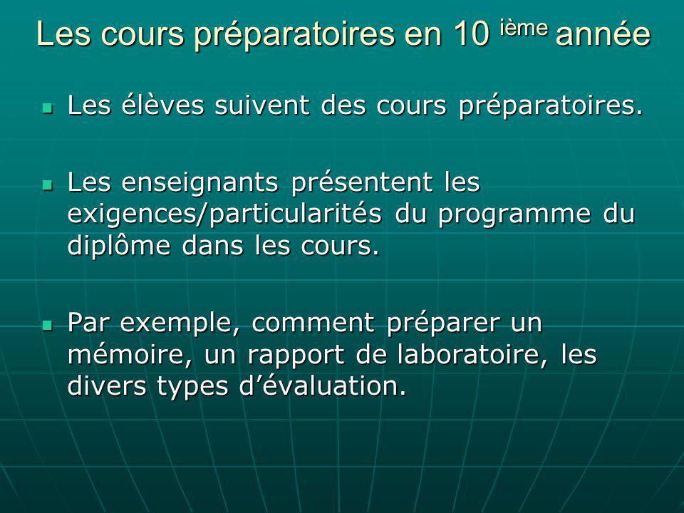 Les cours préparatoires en 10 ième année Les élèves suivent des cours préparatoires.