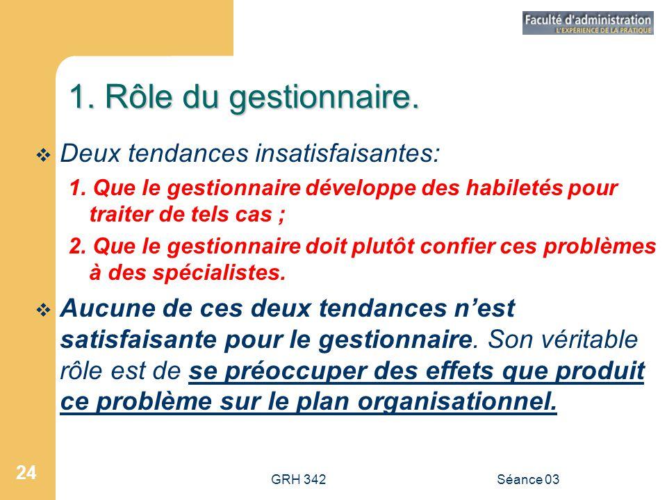 GRH 342Séance 03 24 1.Rôle du gestionnaire.  Deux tendances insatisfaisantes: 1.