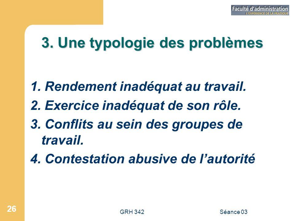 GRH 342Séance 03 26 3.Une typologie des problèmes 1.