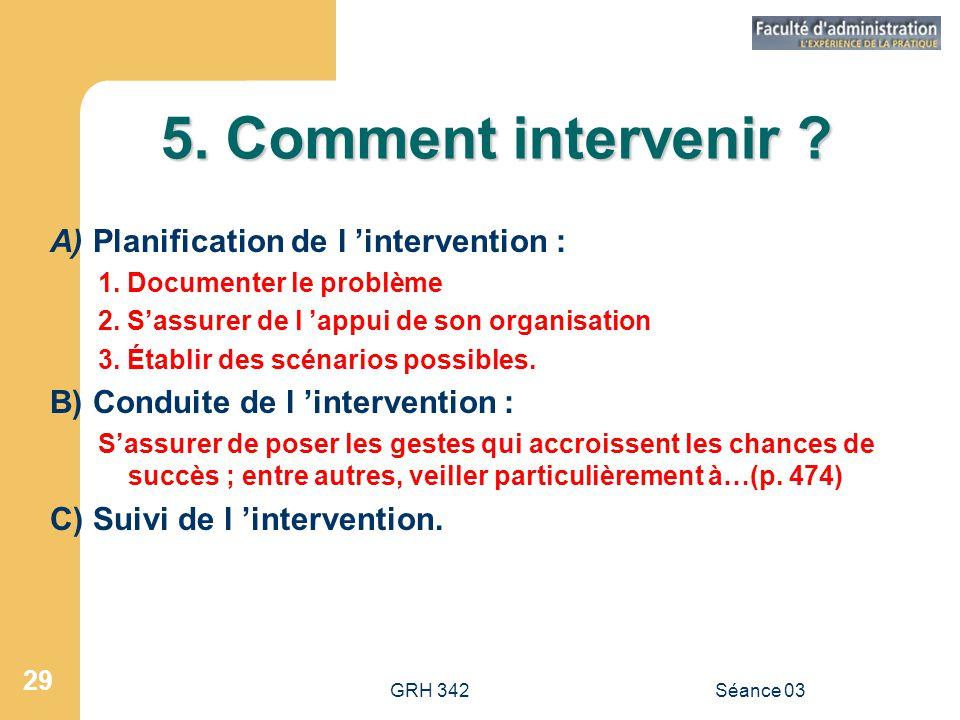 GRH 342Séance 03 29 5.Comment intervenir . A) Planification de l 'intervention : 1.