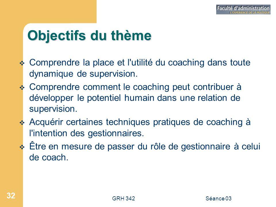 GRH 342Séance 03 32 Objectifs du thème  Comprendre la place et l utilité du coaching dans toute dynamique de supervision.
