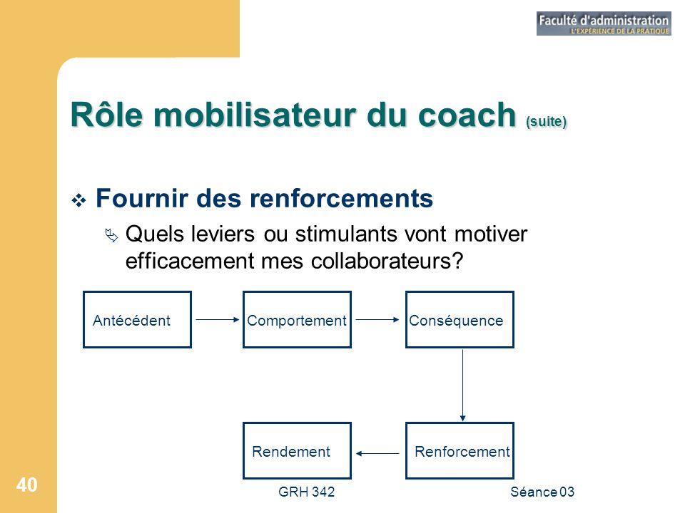 GRH 342Séance 03 40 Rôle mobilisateur du coach (suite)  Fournir des renforcements  Quels leviers ou stimulants vont motiver efficacement mes collaborateurs.