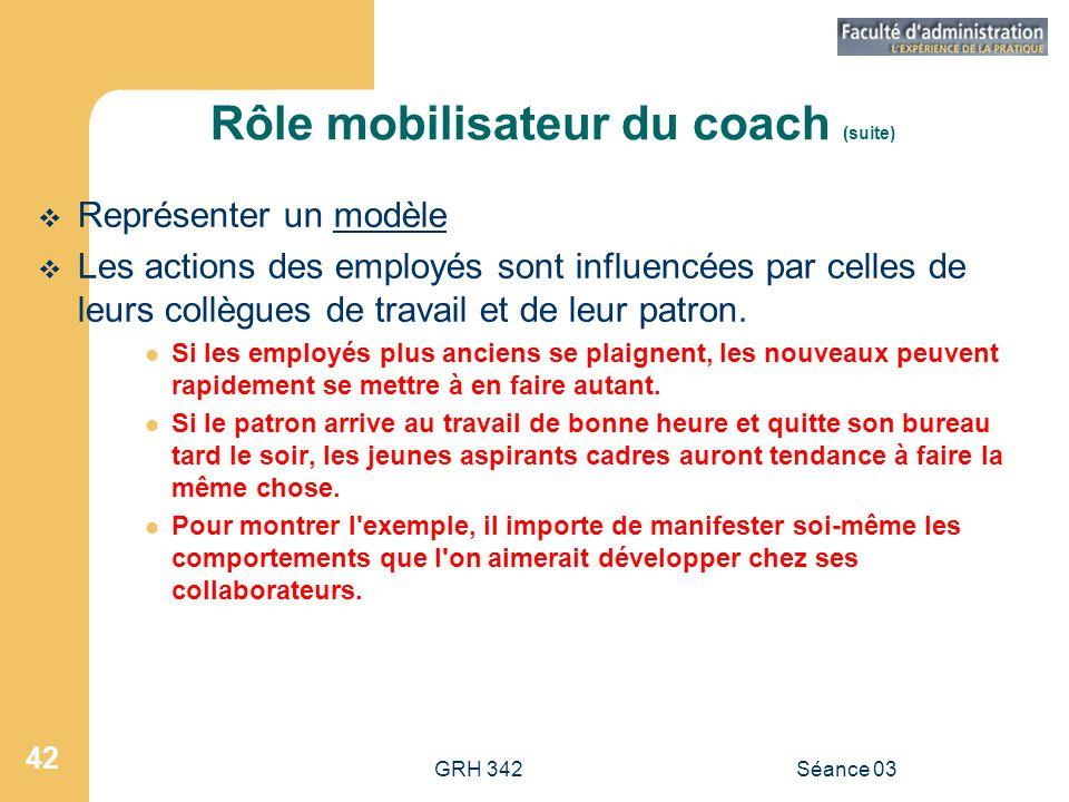 GRH 342Séance 03 42 Rôle mobilisateur du coach (suite)  Représenter un modèle  Les actions des employés sont influencées par celles de leurs collègues de travail et de leur patron.
