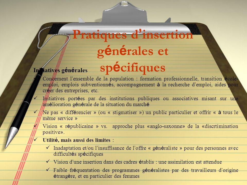 Pratiques d ' insertion g é n é rales et sp é cifiques Initiatives g é n é rales Concernent l ' ensemble de la population : formation professionnelle,