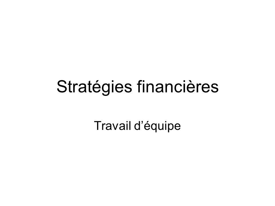 Stratégies financières Travail d'équipe
