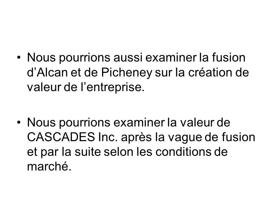 Nous pourrions aussi examiner la fusion d'Alcan et de Picheney sur la création de valeur de l'entreprise.