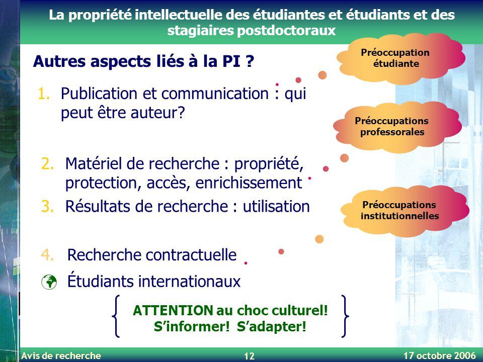 Avis de recherche 17 octobre 2006 12 La propriété intellectuelle des étudiantes et étudiants et des stagiaires postdoctoraux Autres aspects liés à la