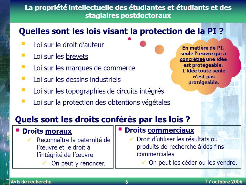 Avis de recherche 17 octobre 2006 6 Quelles sont les lois visant la protection de la PI ? La propriété intellectuelle des étudiantes et étudiants et d