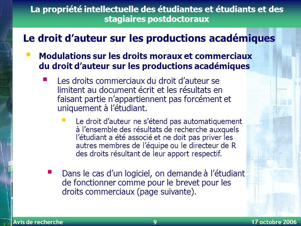 Avis de recherche 17 octobre 2006 9 Le droit d'auteur sur les productions académiques La propriété intellectuelle des étudiantes et étudiants et des s