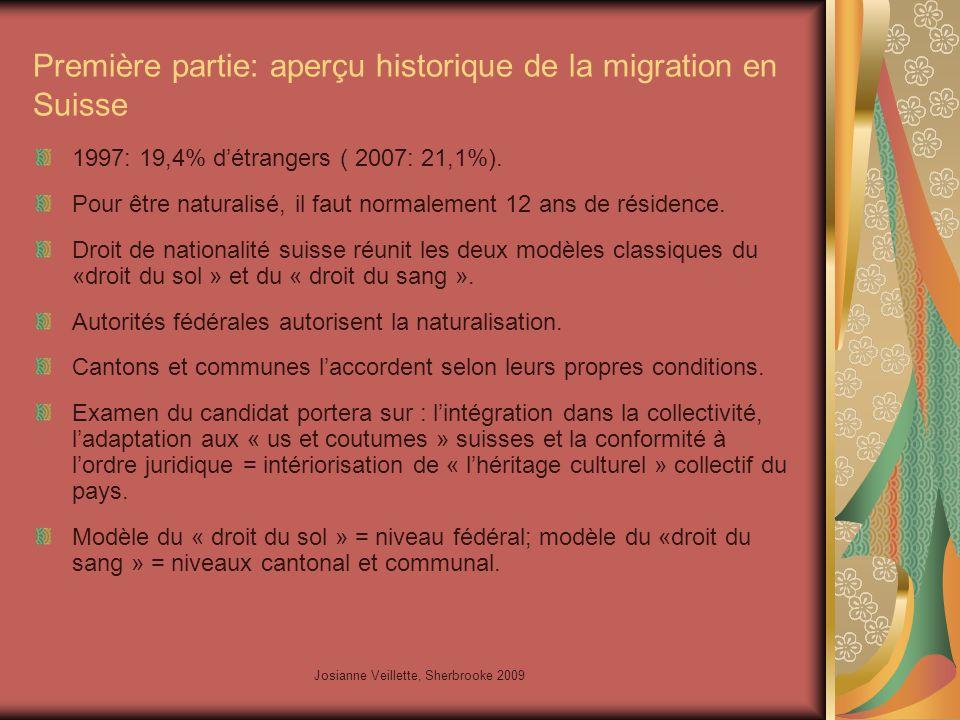 Josianne Veillette, Sherbrooke 2009 Première partie: aperçu historique de la migration en Suisse 1997: 19,4% d'étrangers ( 2007: 21,1%).