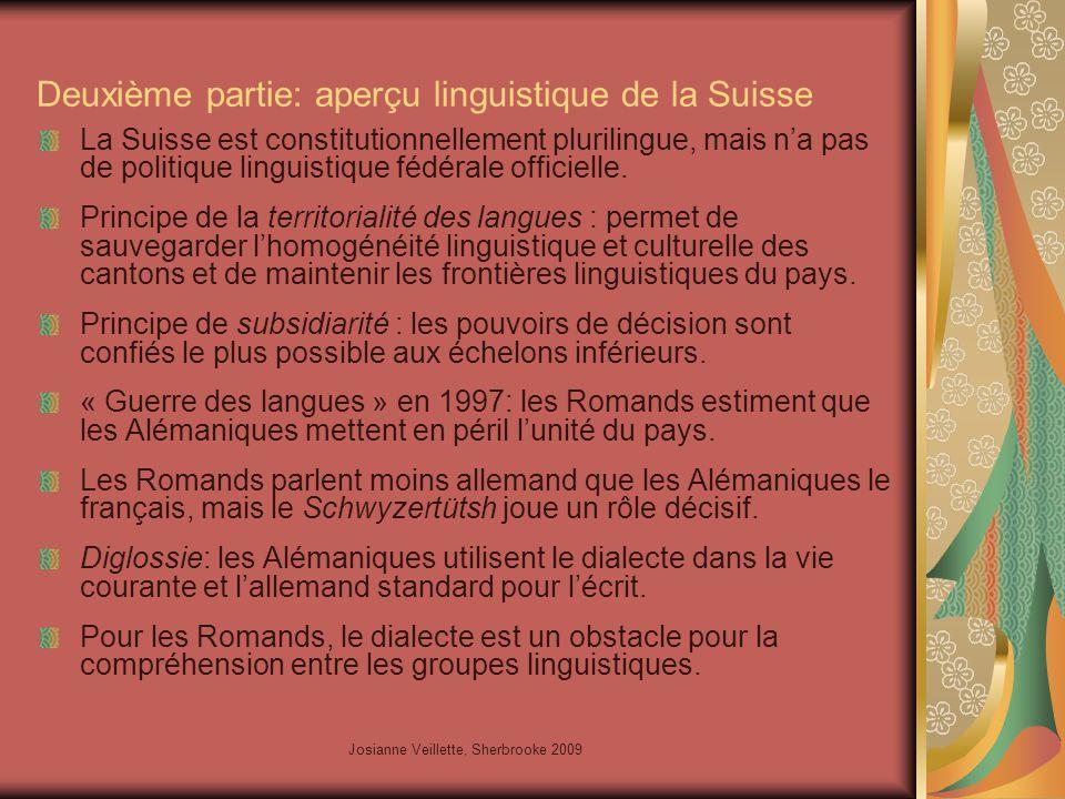 Josianne Veillette, Sherbrooke 2009 Deuxième partie: aperçu linguistique de la Suisse La Suisse est constitutionnellement plurilingue, mais n'a pas de politique linguistique fédérale officielle.