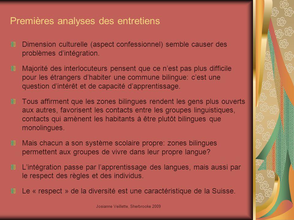 Josianne Veillette, Sherbrooke 2009 Premières analyses des entretiens Dimension culturelle (aspect confessionnel) semble causer des problèmes d'intégration.