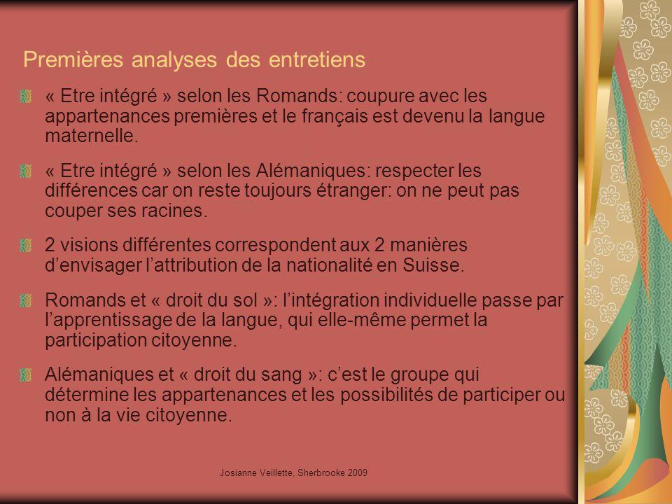 Josianne Veillette, Sherbrooke 2009 Premières analyses des entretiens « Etre intégré » selon les Romands: coupure avec les appartenances premières et le français est devenu la langue maternelle.