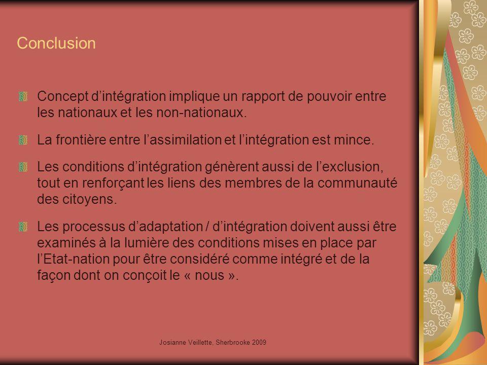 Josianne Veillette, Sherbrooke 2009 Conclusion Concept d'intégration implique un rapport de pouvoir entre les nationaux et les non-nationaux.