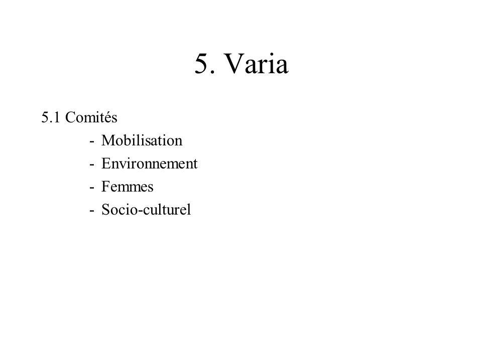 5. Varia 5.1 Comités -Mobilisation -Environnement -Femmes -Socio-culturel