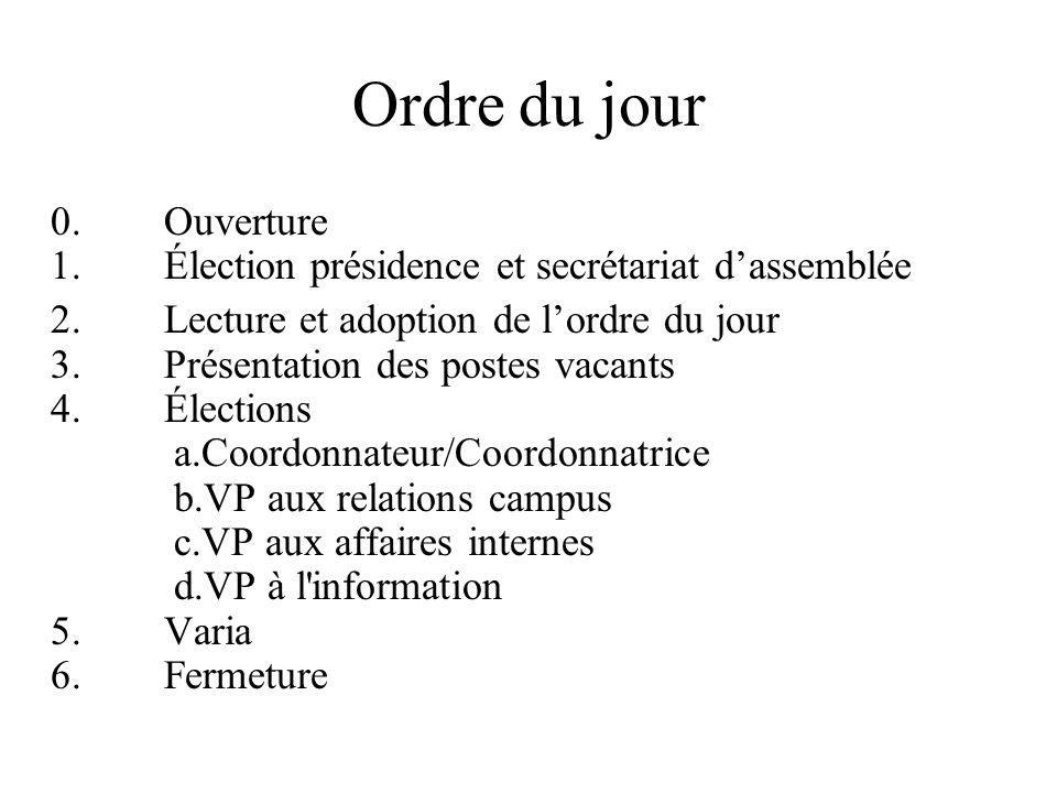Ordre du jour 0. Ouverture 1. Élection présidence et secrétariat d'assemblée 2. Lecture et adoption de l'ordre du jour 3. Présentation des postes vaca