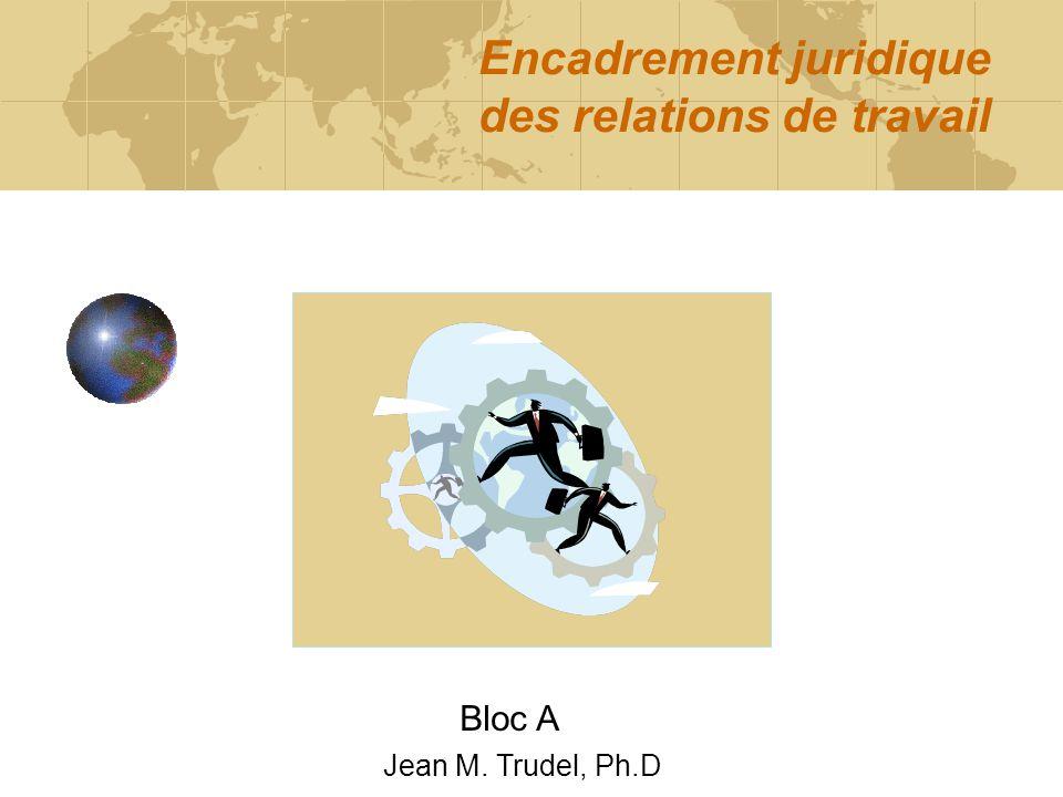 Encadrement juridique des relations de travail Bloc A Jean M. Trudel, Ph.D