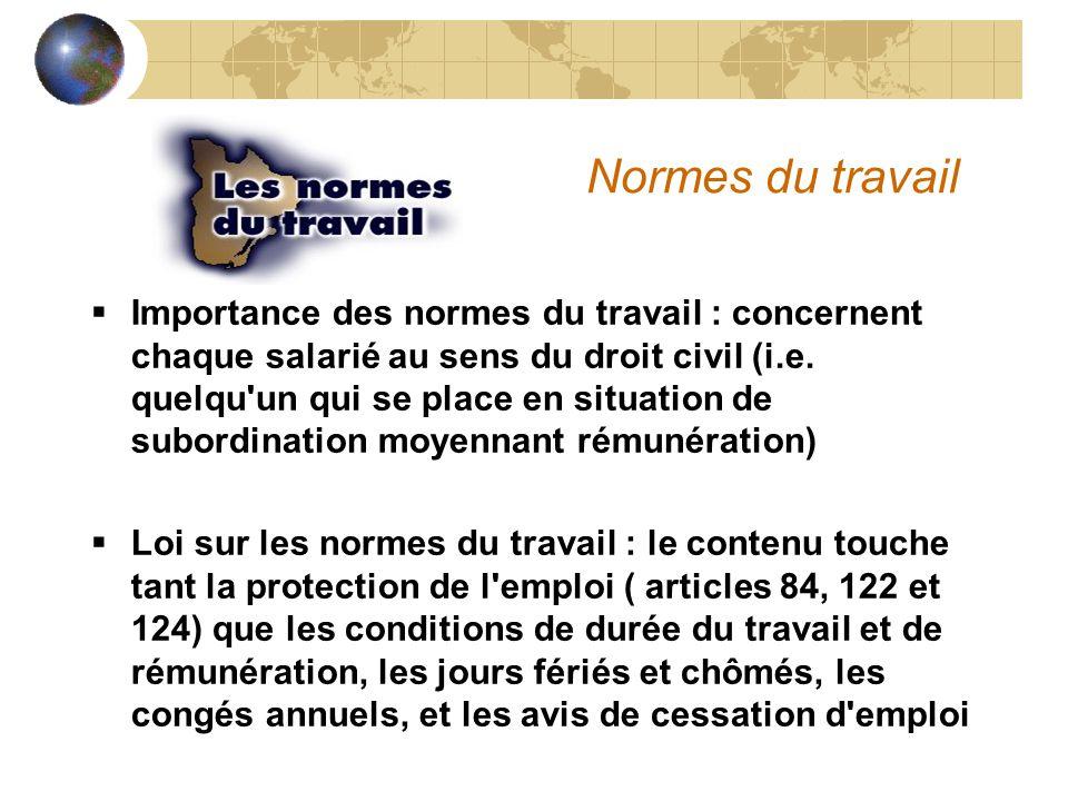 Normes du travail  Importance des normes du travail : concernent chaque salarié au sens du droit civil (i.e.