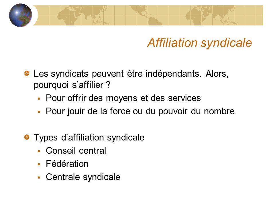 Affiliation syndicale Les syndicats peuvent être indépendants.