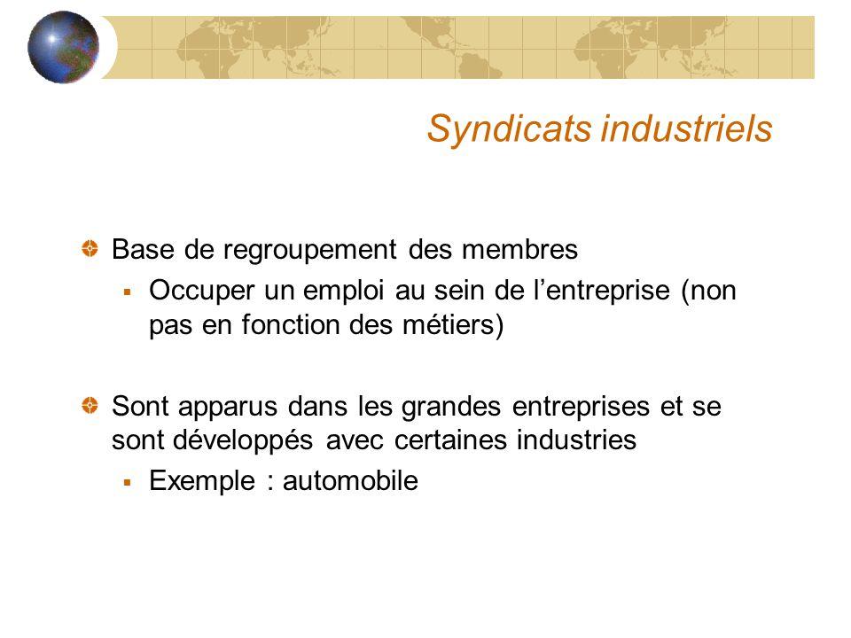 Syndicats industriels Base de regroupement des membres  Occuper un emploi au sein de l'entreprise (non pas en fonction des métiers) Sont apparus dans les grandes entreprises et se sont développés avec certaines industries  Exemple : automobile