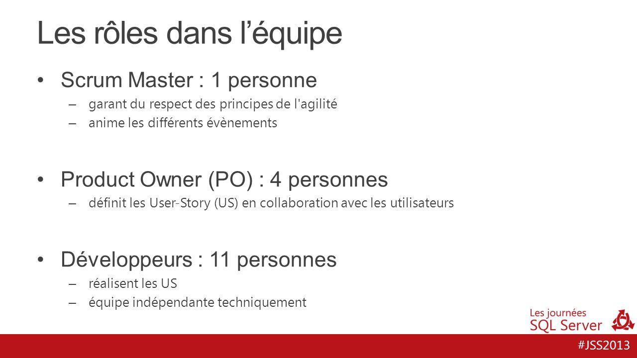 #JSS2013 Les rôles dans l'équipe Scrum Master : 1 personne – garant du respect des principes de l'agilité – anime les différents évènements Product Ow