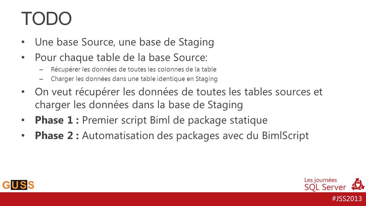 #JSS2013 Une base Source, une base de Staging Pour chaque table de la base Source: – Récupérer les données de toutes les colonnes de la table – Charge