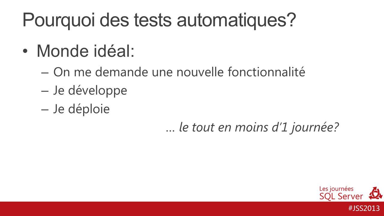 #JSS2013 Pourquoi des tests automatiques? Monde idéal: – On me demande une nouvelle fonctionnalité – Je développe – Je déploie … le tout en moins d'1