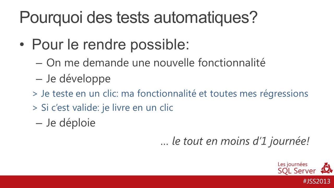 #JSS2013 Pourquoi des tests automatiques? Pour le rendre possible: – On me demande une nouvelle fonctionnalité – Je développe > Je teste en un clic: m