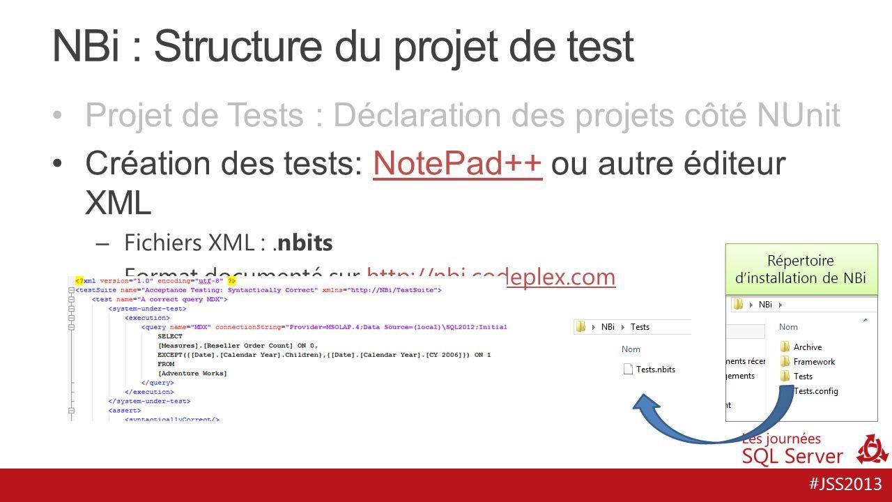 #JSS2013 NBi : Structure du projet de test Répertoire d'installation de NBi Projet de Tests : Déclaration des projets côté NUnit Création des tests: N