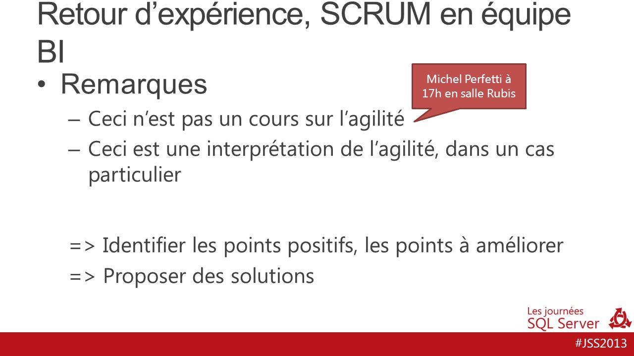 #JSS2013 Retour d'expérience, SCRUM en équipe BI Remarques – Ceci n'est pas un cours sur l'agilité – Ceci est une interprétation de l'agilité, dans un