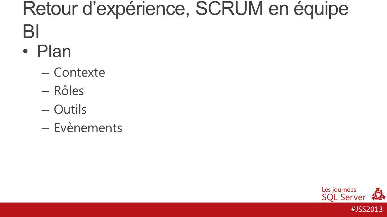 #JSS2013 Retour d'expérience, SCRUM en équipe BI Contexte – Suivi d'activité : Réalisé, Objectifs – Technologies MS : SSIS, SSAS, SSRS – Portail SharePoint / BI Personnelle – Besoins évolutifs – Maturité décisionnelle du client – Maturité technique de l'équipe