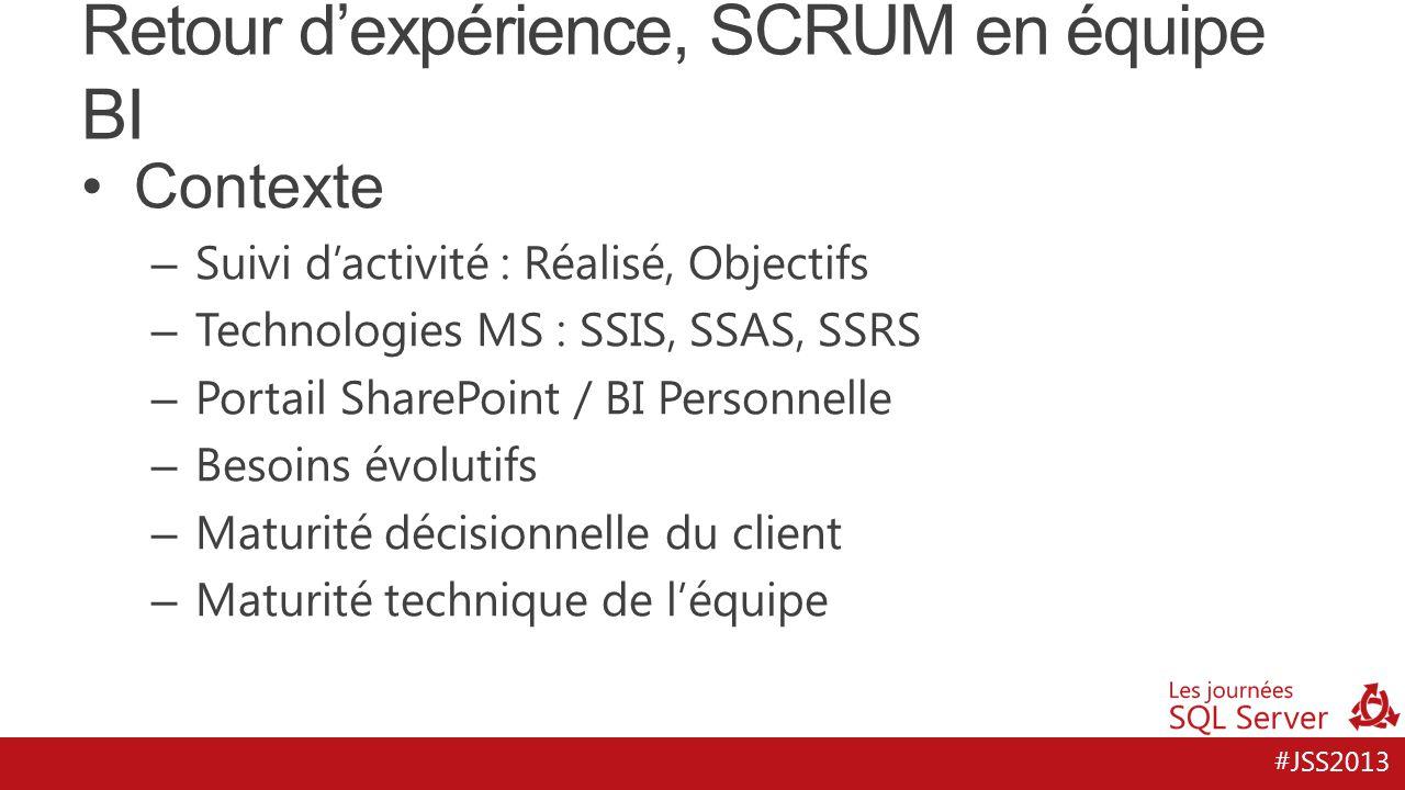 #JSS2013 Retour d'expérience, SCRUM en équipe BI Contexte – Suivi d'activité : Réalisé, Objectifs – Technologies MS : SSIS, SSAS, SSRS – Portail Share