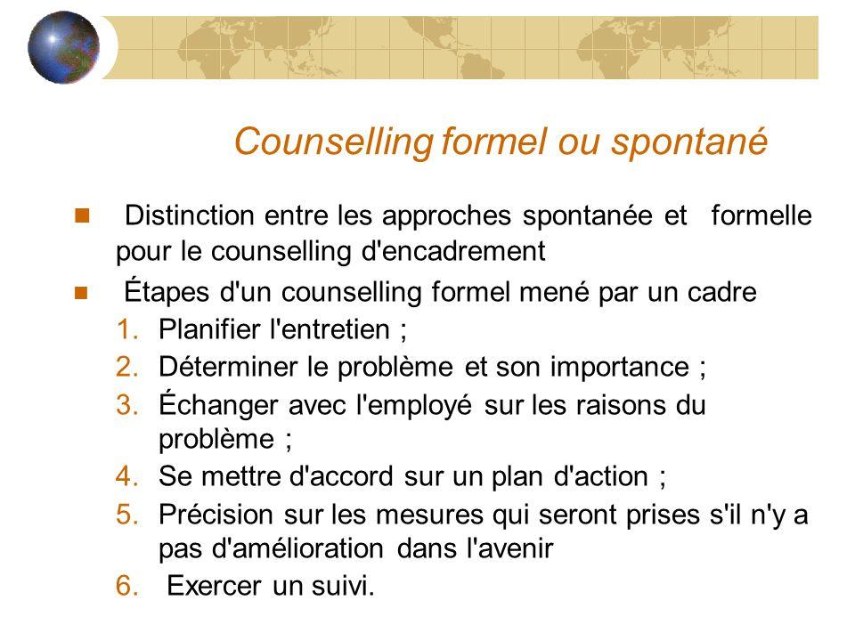 Counselling formel ou spontané n Distinction entre les approches spontanée et formelle pour le counselling d'encadrement n Étapes d'un counselling for