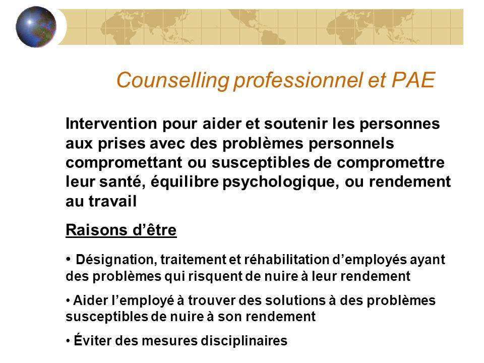 Counselling professionnel et PAE Intervention pour aider et soutenir les personnes aux prises avec des problèmes personnels compromettant ou susceptib