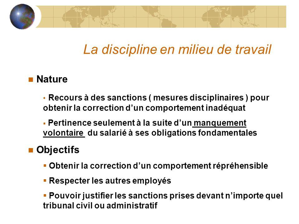 La discipline en milieu de travail n Nature Recours à des sanctions ( mesures disciplinaires ) pour obtenir la correction d'un comportement inadéquat