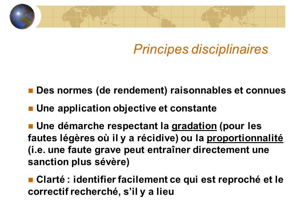 Principes disciplinaires n Des normes (de rendement) raisonnables et connues n Une application objective et constante n Une démarche respectant la gra
