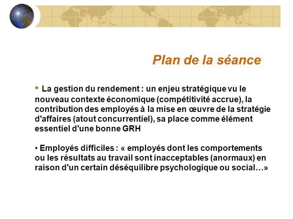 La gestion du rendement : un enjeu stratégique vu le nouveau contexte économique (compétitivité accrue), la contribution des employés à la mise en œuv