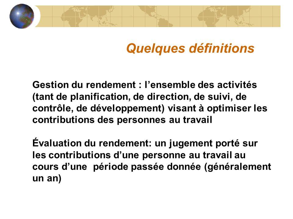 Quelques définitions Gestion du rendement : l'ensemble des activités (tant de planification, de direction, de suivi, de contrôle, de développement) vi