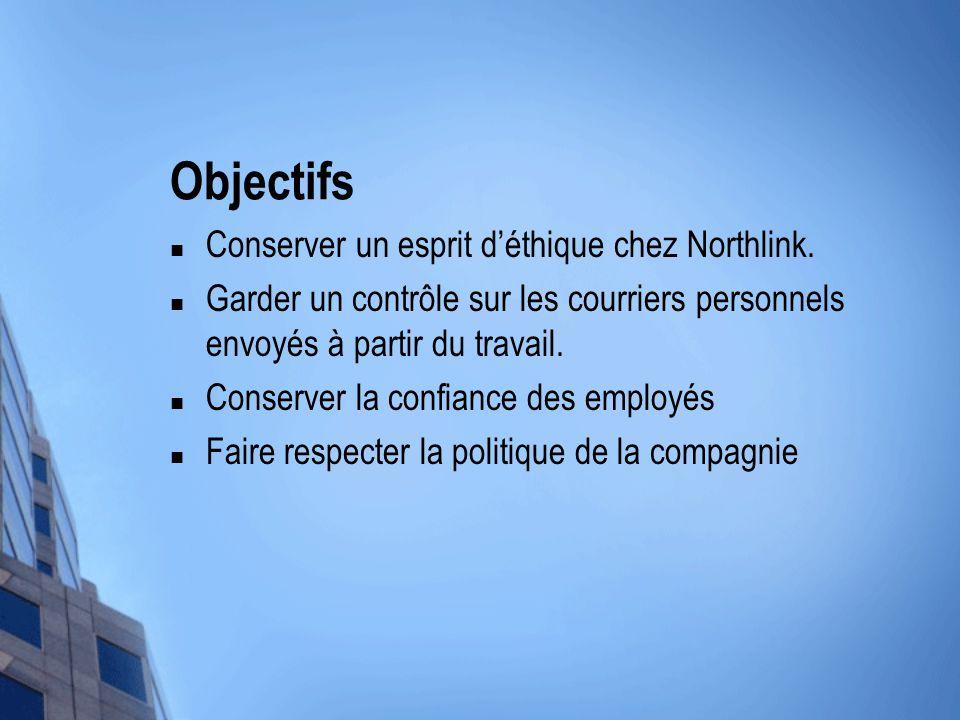 Objectifs Conserver un esprit d'éthique chez Northlink. Garder un contrôle sur les courriers personnels envoyés à partir du travail. Conserver la conf