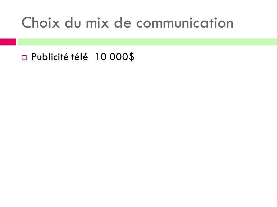 Choix du mix de communication  Publicité télé 10 000$