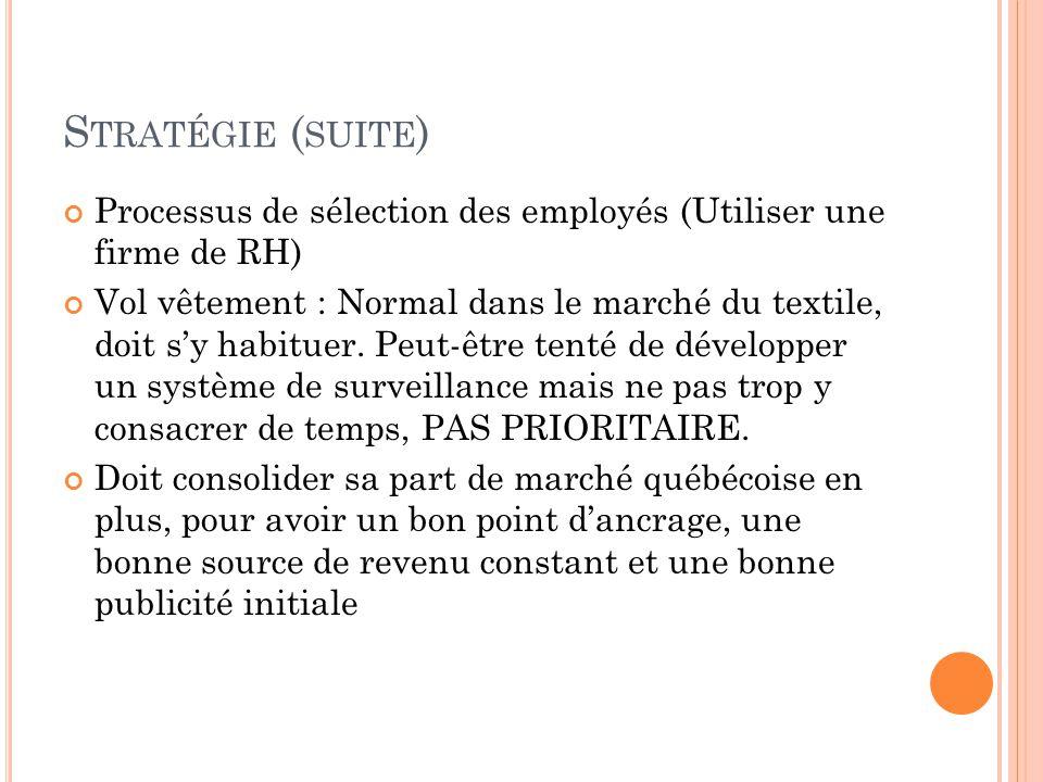 S TRATÉGIE ( SUITE ) Processus de sélection des employés (Utiliser une firme de RH) Vol vêtement : Normal dans le marché du textile, doit s'y habituer