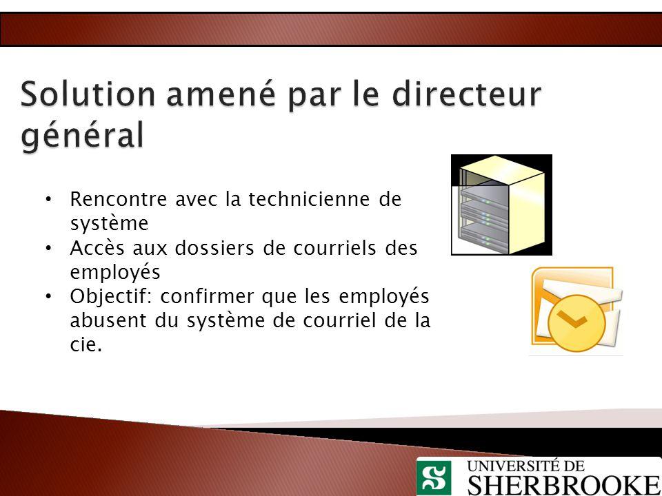Rencontre avec la technicienne de système Accès aux dossiers de courriels des employés Objectif: confirmer que les employés abusent du système de cour
