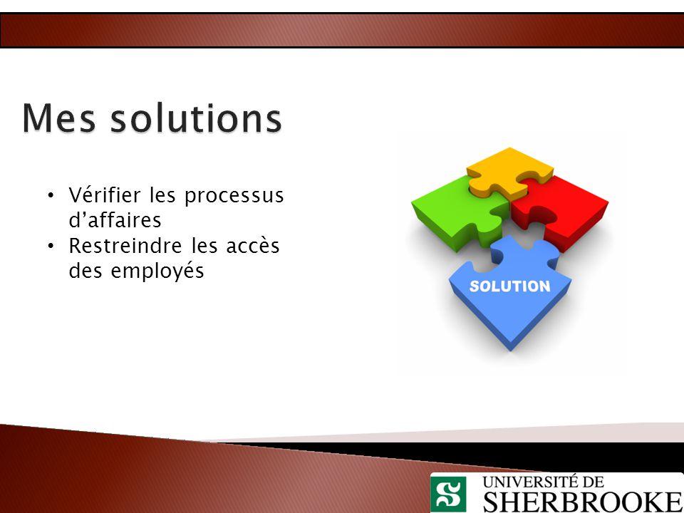 Vérifier les processus d'affaires Restreindre les accès des employés