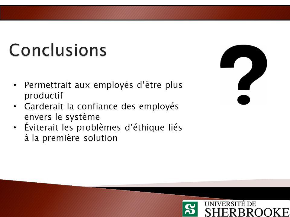 Permettrait aux employés d'être plus productif Garderait la confiance des employés envers le système Éviterait les problèmes d'éthique liés à la premi