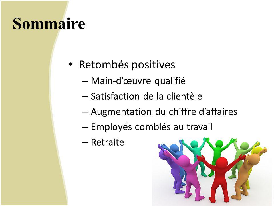 Sommaire Retombés positives – Main-d'œuvre qualifié – Satisfaction de la clientèle – Augmentation du chiffre d'affaires – Employés comblés au travail