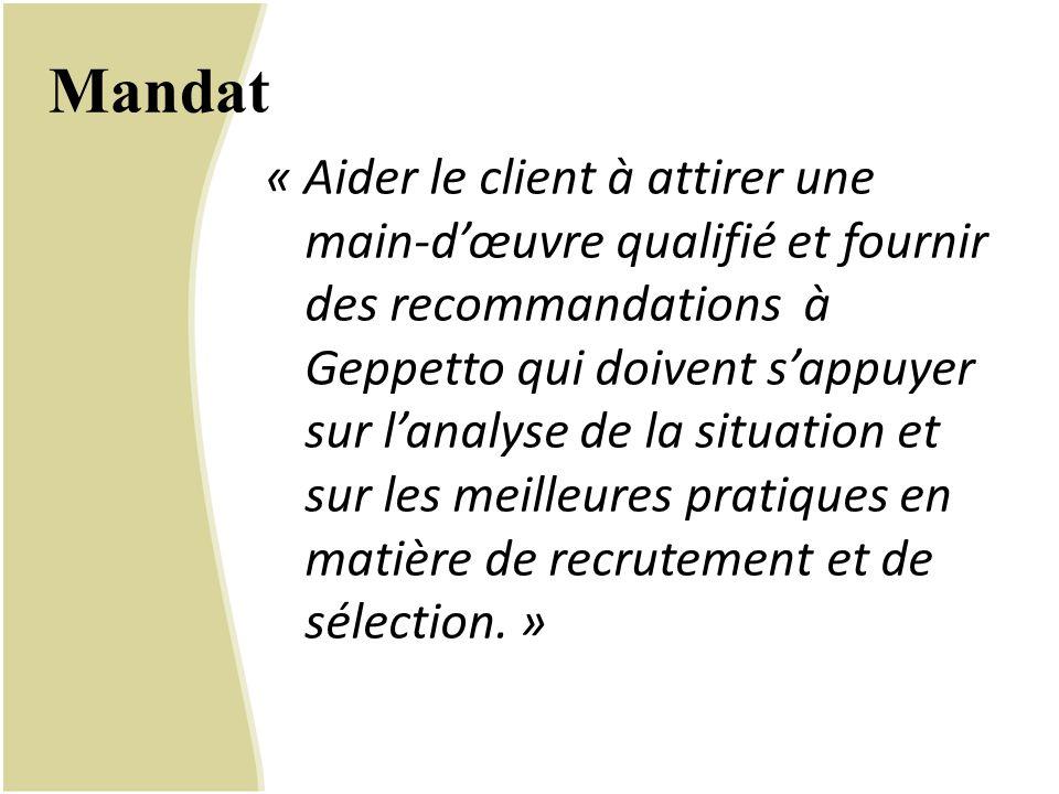 Mandat « Aider le client à attirer une main-d'œuvre qualifié et fournir des recommandations à Geppetto qui doivent s'appuyer sur l'analyse de la situa