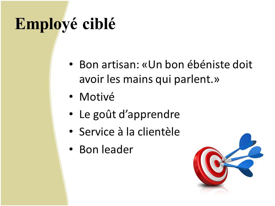Employé ciblé Bon artisan: «Un bon ébéniste doit avoir les mains qui parlent.» Motivé Le goût d'apprendre Service à la clientèle Bon leader