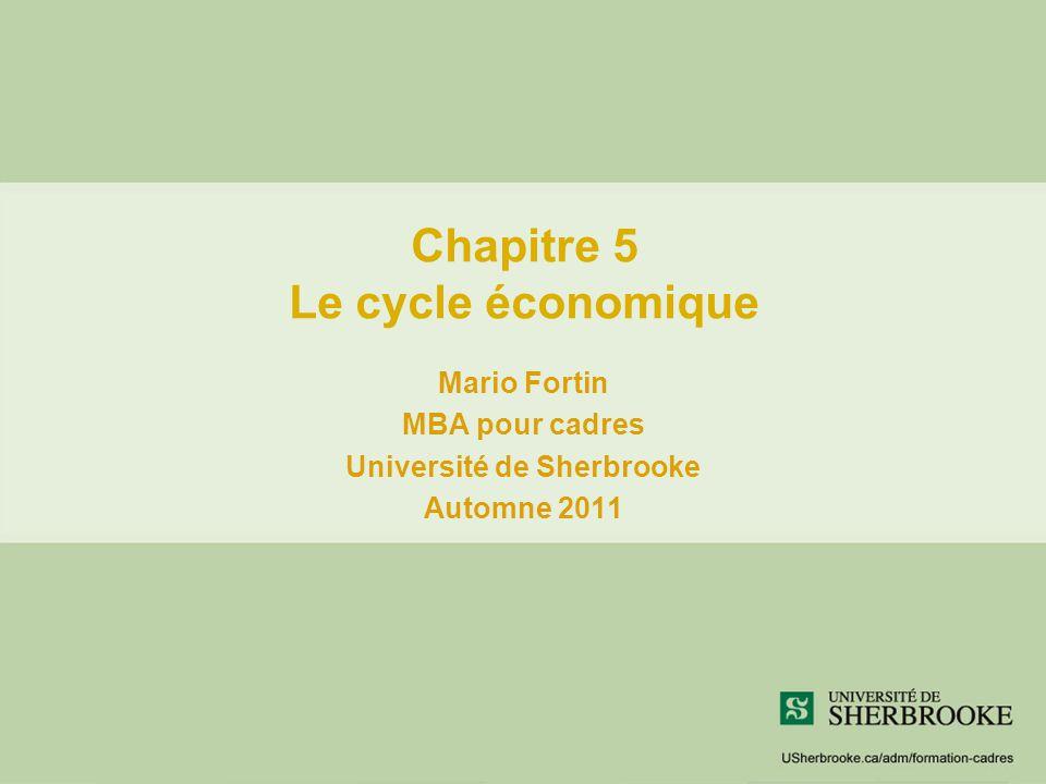 Chapitre 5 Le cycle économique Mario Fortin MBA pour cadres Université de Sherbrooke Automne 2011
